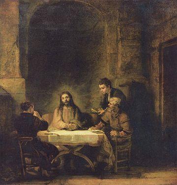 Christ at Emmaus, by Rembrandt.